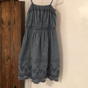 GAP Girls Denim Blue Chambray Embroidered Dress